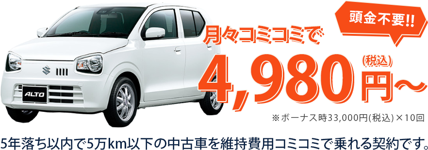 月々コミコミで4,980円から車が乗れる